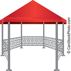 Gazebo with steel uprights and roof made of cloth. Vector...