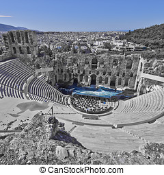 ancient Greek theatre under Acropolis of Athens, Greece, in...