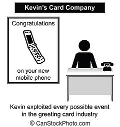 Greeting Card - Kevin in his greeting card shop cartoon...