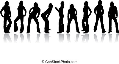 Set woman vector silhouettes - Set of silhouettes from a...