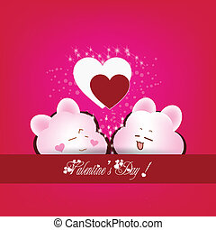 greeting card with two hearts