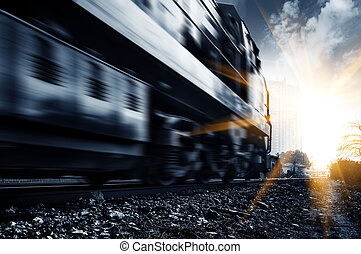 Freight train - A high-speed freight train, motion blur.