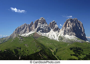 Sassolungo - Summer view of italian dolomites in val di...