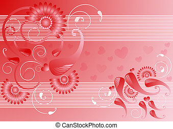 Red satin background with the decor