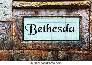 Bethesda street sign in Jerusalem, Israel