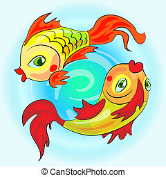 two gold zodiac fishes - Zodiac gold fish swim in water