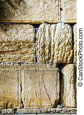 Rocks of the Wailing wall close up in Jerusalem, Israel