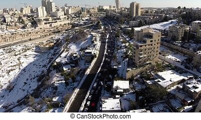 Jerusalem roads in the snow - Beautiful video flying over...