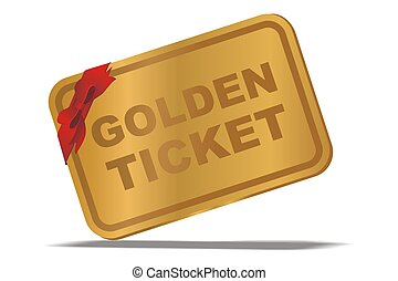 golden ticket - suitable for illustration or user interface