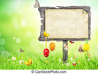 Easter concept with blank sign - Fresh grass with...