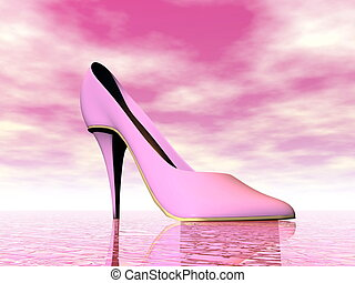 Pink high heel - 3D render - One pink high heel by cloudy...