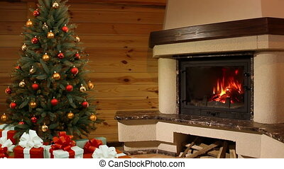 Christmas tree room. Fireplace