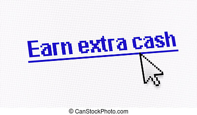"""Internet link title """"Earn extra cash"""" screen photo with..."""