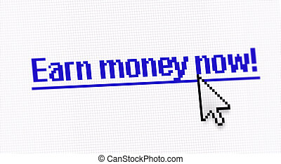 """Internet link title """"Earn money now"""" screen photo with..."""