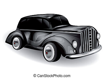 classic car on white background. 10 EPS
