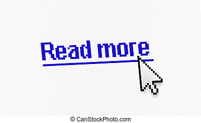"""Internet link title """"Read more"""" screen photo with pixels..."""
