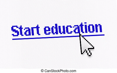 """Internet link title """"Start education"""" screen photo with..."""
