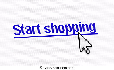 """Internet link title """"Start shopping"""" screen photo with..."""