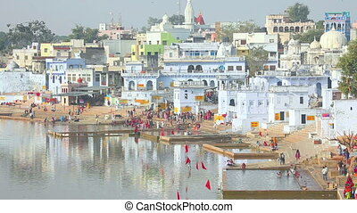 City of Pushkar - Distant view to one of the sites of...