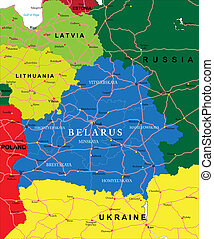 Belarus map - Highly detailed vector map of Belarus with...