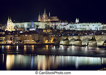 Prague at night - Image of Prague, capital city of Czech...