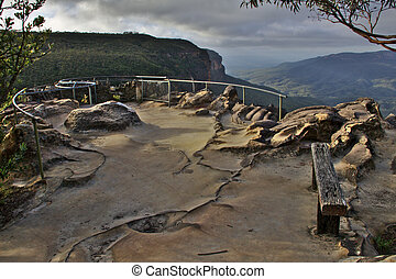 Valley Lookout - Lookout to the Valley at Wentworth Falls,...