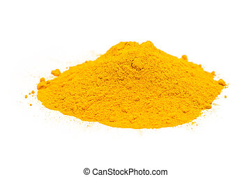 Turmeric Powder Pile On White - Indian Spices Of Turmeric...
