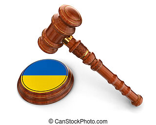 Wooden Mallet and Ukrainian flag - 3d wooden mallet and...