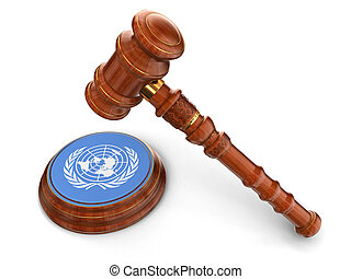 Wooden Mallet and UN flag - 3d wooden mallet and UN flag....