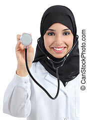 Front view of an arab doctor woman showing stethoscope...