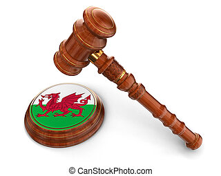 Wooden Mallet and Welsh flag - 3d wooden mallet and Welsh...