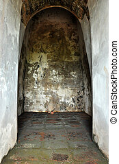 Old grungy room of ancient historical building in Thailand