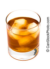Glass of whisky with an ice on a white background