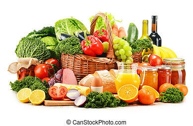 Variety of organic grocery products isolated on white
