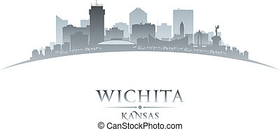 Wichita Kansas city silhouette white background - Wichita...