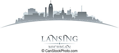 Lansing Michigan city silhouette white background - Lansing...