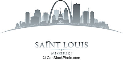 Saint Louis Missouri city silhouette white background -...
