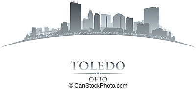 Toledo Ohio city silhouette white background - Toledo Ohio...