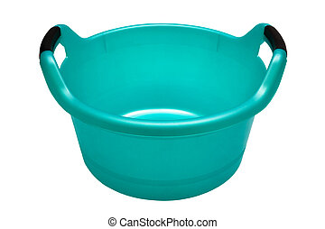 Plastic turquoise basin on a white background