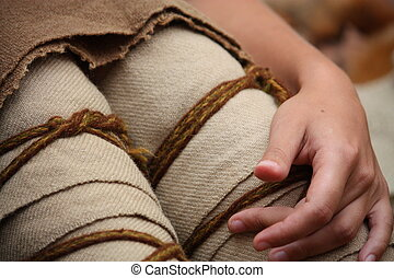 Close up of medieval woman legs - Close up of poor medieval...