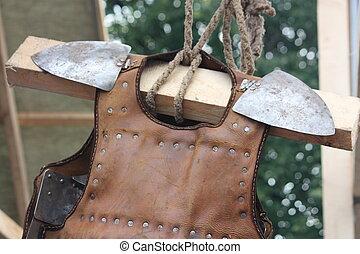 couro, armadura,  medieval, fim, cima