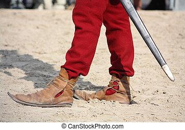 fim, cima, homem,  medieval, sapatos