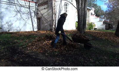 girl wheelbarrow compost - the girl is carrying a lot of...