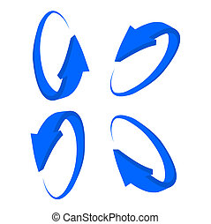 set 3D blue arrow