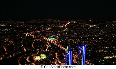 night city light - aerial view night city at Istanbul Turkey