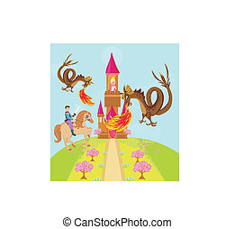 Two dragons attacking the princess castle