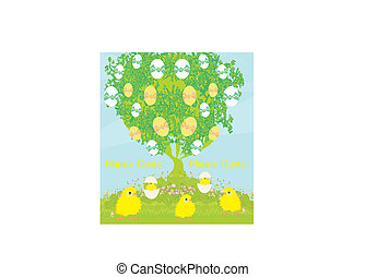 cute chickens and Easter tree