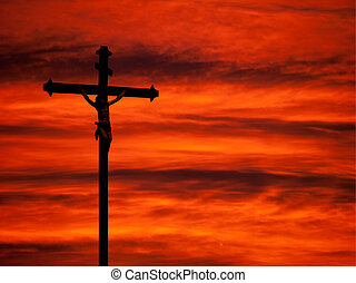Easter religious background - crucifixion and sunset red sky