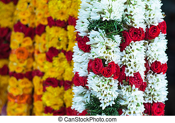 Focus on White Garland with Red Rose - Little India - Yellow...