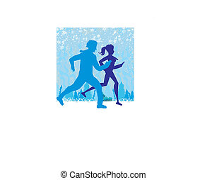 couple jogging in winter